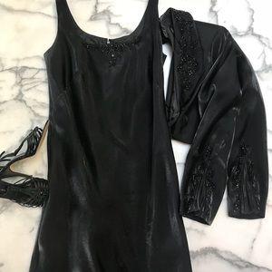 Alex Evenings liquid satin black evening gown